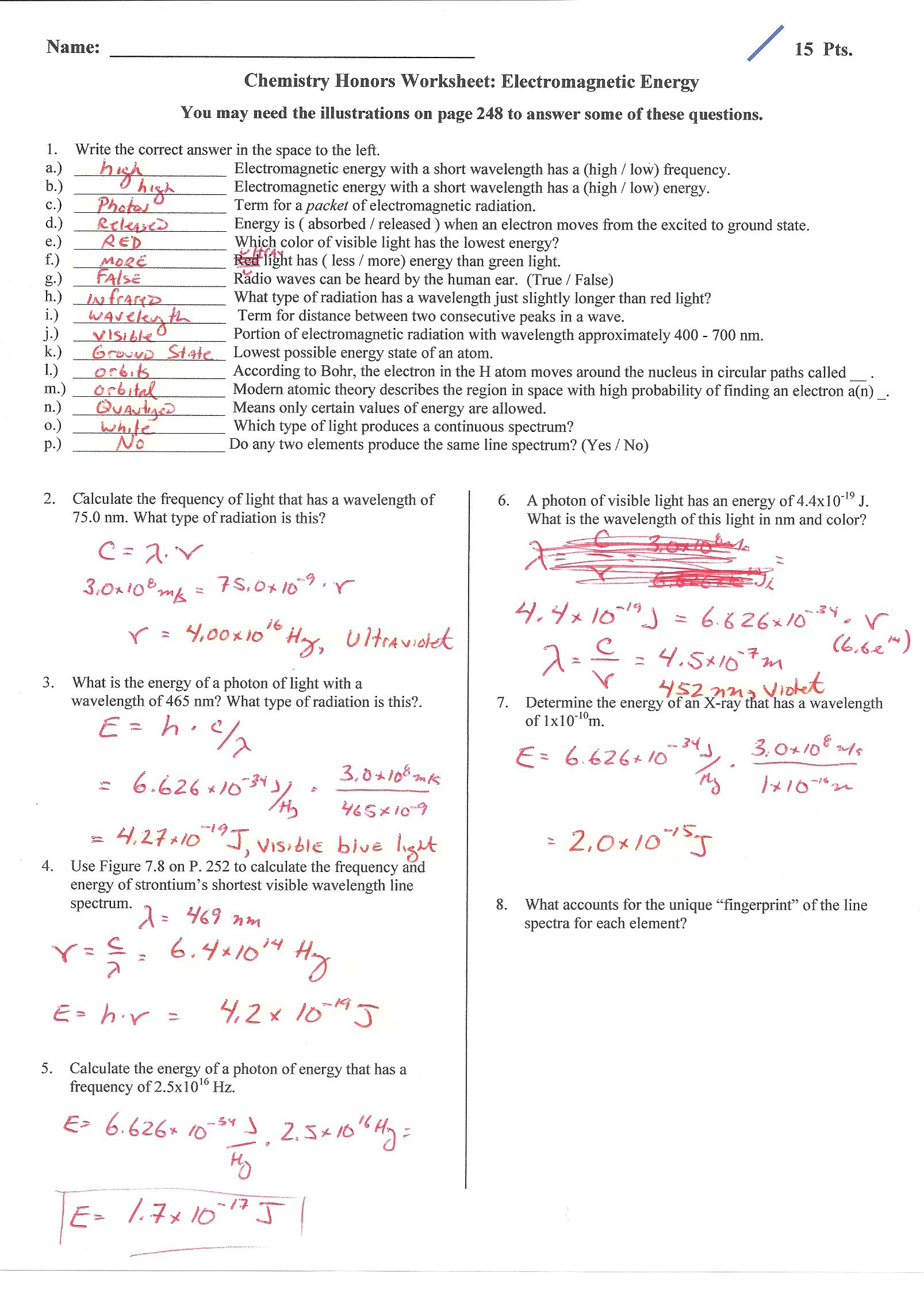 Light And Energy Worksheet Answers